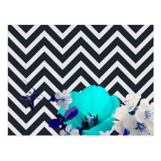 chevron Flower mix black and white,blue Postcard