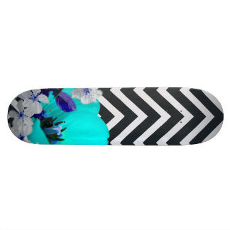 chevron Flower mix black and white,blue Skate Boards