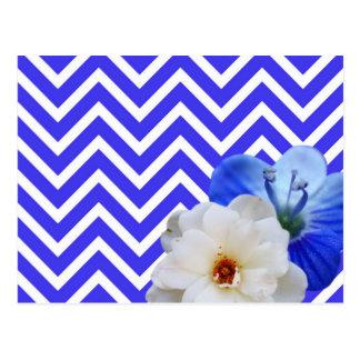 chevron Flower mix blue Postcard