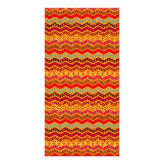 Chevron Geometric Designs Color Orange, Red, Blue2 Customised Photo Card