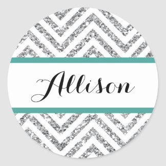 Chevron Glitter Circle Sticker Name Label Teal