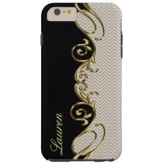 Chevron Gold Black iPhone 6 Plus Monogram Case