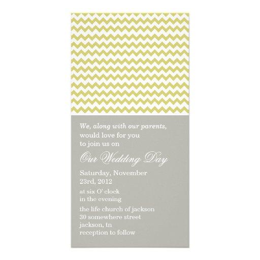 Chevron Gray & Green Photo Cards Wedding Invites