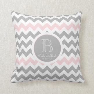 Chevron Gray Pink White Monogram Wedding Pillow
