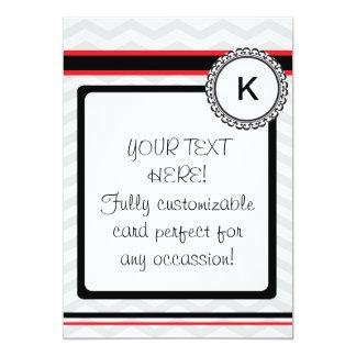 Chevron gray, red and black monogram card