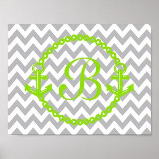 Chevron Green Anchor Monogram Print