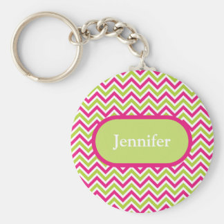 Chevron green & pink zigzag pattern custom name key ring