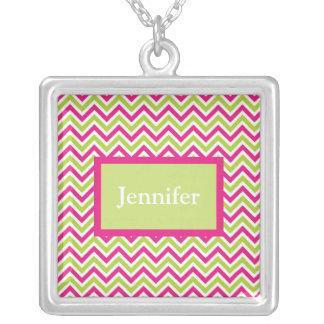 Chevron green & pink zigzag pattern custom name jewelry