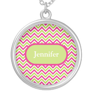 Chevron green & pink zigzag pattern custom name round pendant necklace