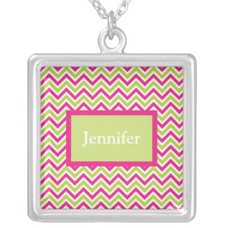 Chevron green & pink zigzag pattern custom name square pendant necklace