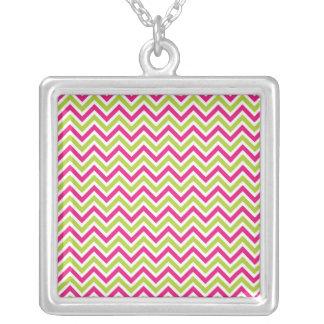Chevron green & pink zigzag pattern fun colorful square pendant necklace