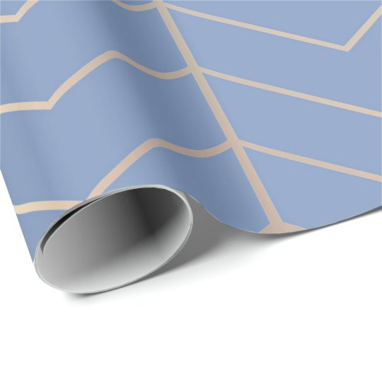 Chevron Grey Blue Silver Minimalism Geometry Rose Wrapping Paper