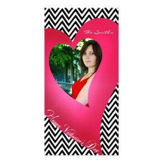 Chevron Heart Valentine Photo Card