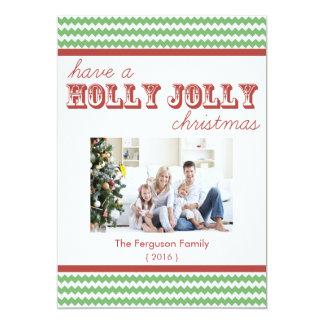 Chevron Holly Jolly Christmas Flat Card 13 Cm X 18 Cm Invitation Card