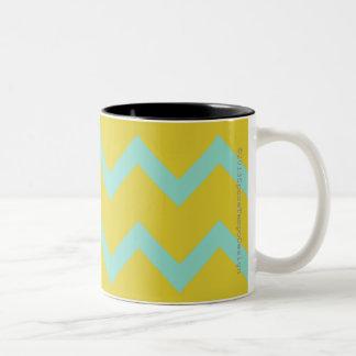 Chevron in aqua + chartreuse contemporary designer Two-Tone coffee mug