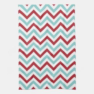 Chevron Kitchen Towel | {Aqua & Red}