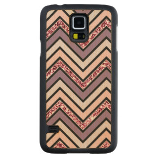 Chevron Lavender Pink & White Carved Maple Galaxy S5 Case