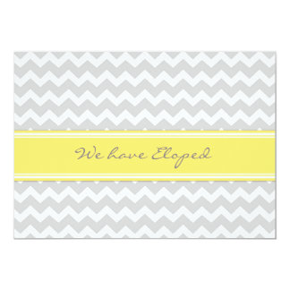 Chevron Lemon Gray Elopement Announcement Cards