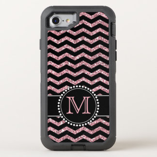 Chevron Light Pink Glitter Personalised Defender OtterBox Defender iPhone 8/7 Case