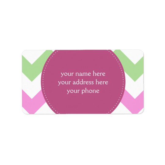 Chevron Light Pink Green Monogram Circle Stitches Label