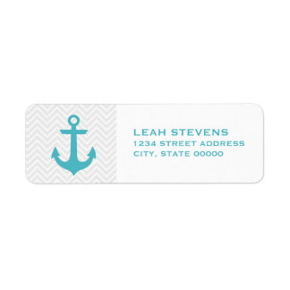 Chevron & Mint Nautical Return Address Labels