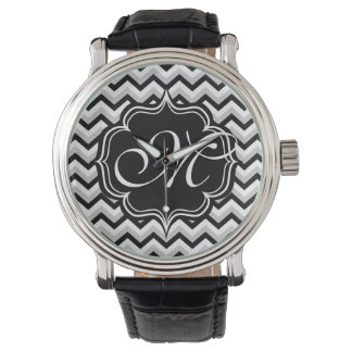 Chevron Modern Black and White ZigZag Monogram Wristwatch