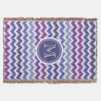 Chevron Monogram Blue and Purple Zigzag Throw Blanket
