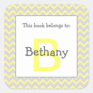 Chevron Monogram Bookplate Sticker yellow gray