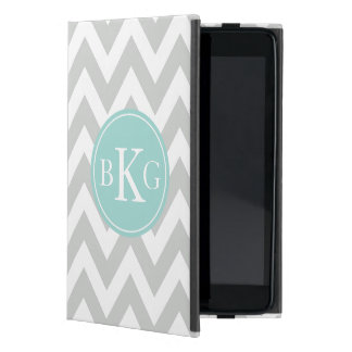 Chevron Monogram | Light Grey Mint Green iPad Mini Case
