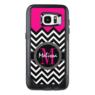 Chevron Monogram Pink and Black OtterBox Samsung Galaxy S7 Edge Case