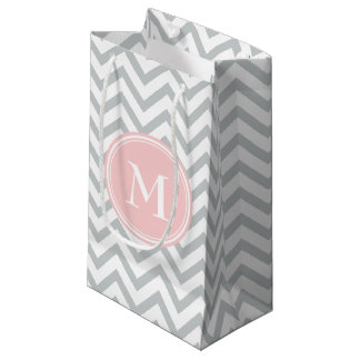 Chevron Monogram Pink and Gray Small Gift Bag