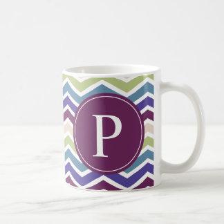Chevron Monogram Purple Green Cream Coffee Mugs