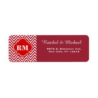 Chevron Monogram Return Wedding Address Label