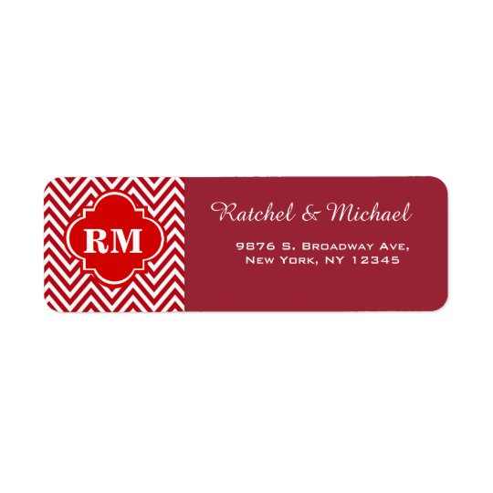 Chevron Monogram Return Wedding Address Label