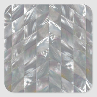 Chevron Mother of Pearl Square Sticker
