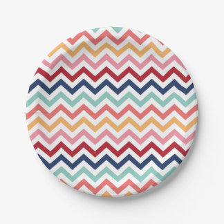 Chevron Multicolor Pink Turquoise Blue Red Coral 7 Inch Paper Plate