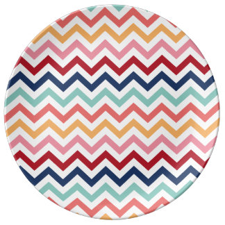 Chevron Multicolor Pink Turquoise Blue Red Coral Porcelain Plate