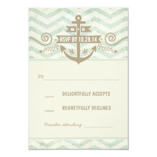chevron nautical wedding old anchor RSVP cards 9 Cm X 13 Cm Invitation Card