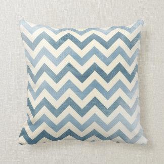 Chevron nautical zig zag pillow Blue off white