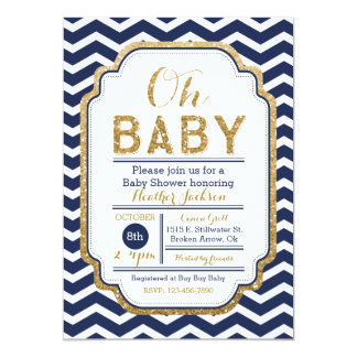 Chevron Navy And Gold Baby Shower Invitation
