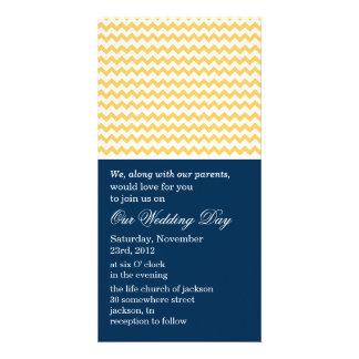 Chevron Navy & Yellow Photo Cards Wedding Invites