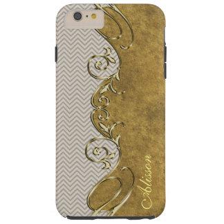 Chevron Old Gold iPhone 6 Plus Monogram Case