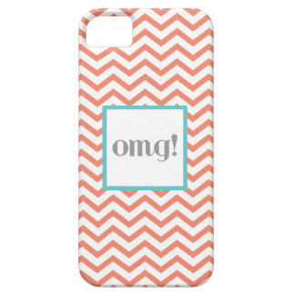 """Chevron """"OMG!"""" in Gray Coral and Turquoise iPhone 5 Cover"""