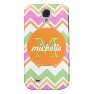 Chevron Orange Pink Green Monogram Circle Stitch Galaxy S4 Covers