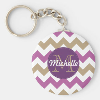 Chevron Orchid Champagne Monogram Circle Stitches Key Ring