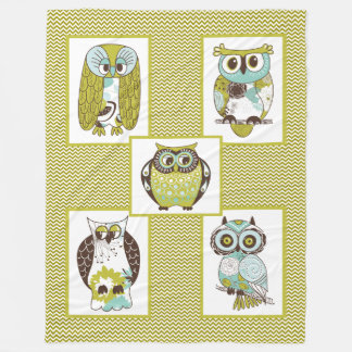 Chevron Owls Fleece Blanket