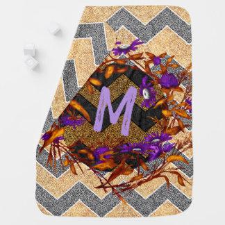 Chevron Paisley Monogram Initial Flower Wreath Baby Blanket