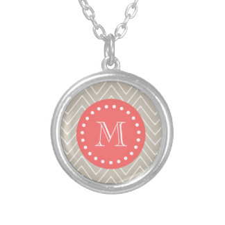 Chevron Pattern 2A Monogram Beige Coral Silver Plated Necklace