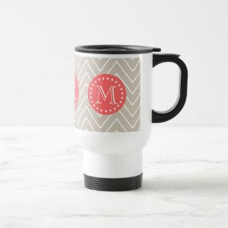 Chevron Pattern 2A Monogram Beige Coral Stainless Steel Travel Mug