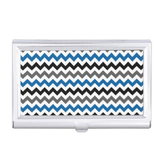 Chevron Pattern Background Blue Gray Black White Business Card Cases
